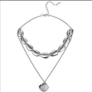 Silver shell chocker tiered necklace new
